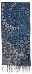 Wool mix narrow scarf spiral flower blue