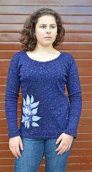 Batik flower long sleeved top deep blue