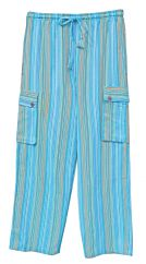 Light weight stripe trousers Turquoise