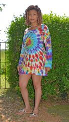 Long sleeve tie dye swirl tunic rainbow