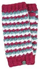 Hand knit rosette pure wool wristwarmers berry/white