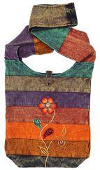 Heavy cotton stonewashed rainbow bag