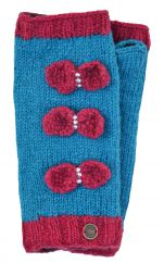 NAYA pure wool sparkle bow wristwarmers turquoise/rose