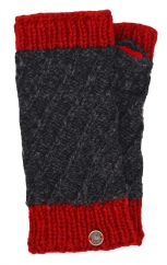 Fleece lined contrast border wristwarmer Charcoal/red