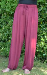 Plain Harem Trousers maroon