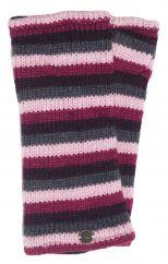 Fleece lined wristwarmer stripe Pink/Grey