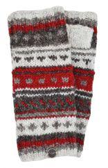 NAYA hand knit pattern wristwarmer brown/red