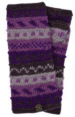 NAYA hand knit pattern wristwarmer purples