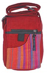 Small striped fabric bag red