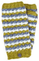 Hand knit rosette pure wool wristwarmers green/white