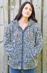 Fleece lined hooded jacket moss stitch Two Tone Grey