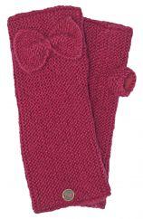Pure wool single bow wristwarmers berry