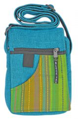 Small striped fabric bag turquoise