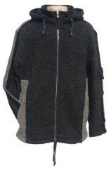Fleece lined detachable hood insert jacket Charcoal/Grey