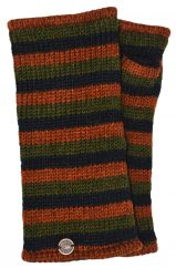 Fleece lined wristwarmer stripe Green/brown/black