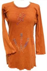 Chainstitch Embroidered Stonewashed Tunic Rust
