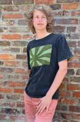 Stonewashed Rising Sun Cotton T-Shirt Black