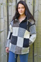 Hand knitted Sampler stitch Patchwork Wool Jacket