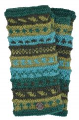 NAYA hand knit pattern wristwarmer greens