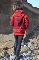 Fleece lined pixie hooded jacket graduated  Red
