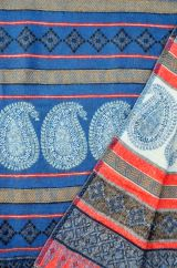 Paisley blanket shawl blue