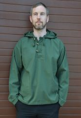 Hooded Shirt With Toggles Green