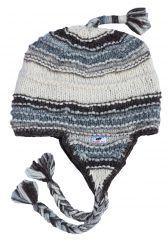 Pure wool half fleece lined ridge ear flap hat  Pale Greys