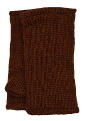 Children's Fleece Lined plain Wristwarmers Mid brown