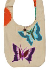 Butterfly applique long handled beach bag