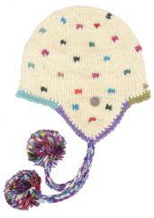 Hand knit half fleece lined moss stitch ear flap hat White
