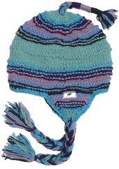 Pure wool half fleece lined ridge ear flap hat Aqua