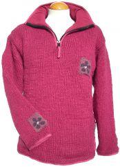 Fleece lined pure wool pullon patch raspberry