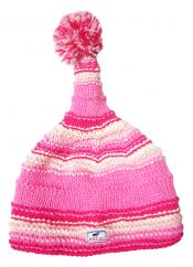 Pure wool half fleece lined short tail  ridge hat Pink
