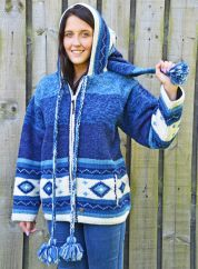Fleece lined pixie hooded jacket graduated  Blue