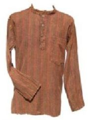 Stonewashed Striped Shirt Brown