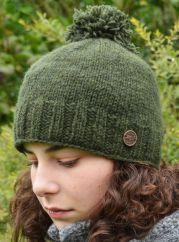 Hand knit pure wool classic bobble dark green