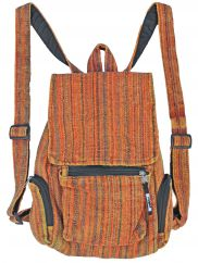 Heavy cotton stonewashed striped rucksack orange