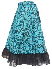 Swirl Pattern Wrapover Skirt Sky Blue