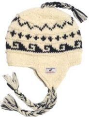 Hand knit half fleece lined wave ear flap hat White
