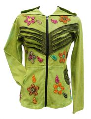 'Cut' and applique flower hooded jacket green