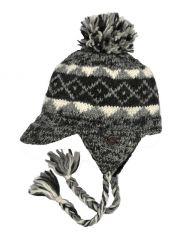 Hand knit half fleece lined large  bobble peak ear flap Natural Tones