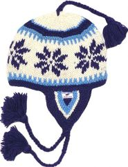 Hand knit half fleece lined snowflake ear flap hat Blue
