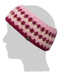 NAYA Fleece lined headband geometric pink/white