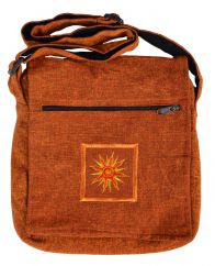 Stonewashed sun motif multi zipped bag burnt orange