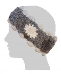 Fleece lined headband crochet flower creams/greys/browns