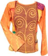 Swirl Pattern Long Sleeve Top Orange