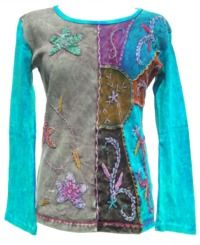 ***SALE*** 'Half Sunray' Applique Embroidered Top Turquoise