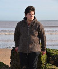 Fleece lined  pure wool hooded jacket Brown