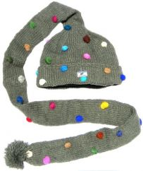 Pure wool hand knit longtail  hat Grey With Bobbles