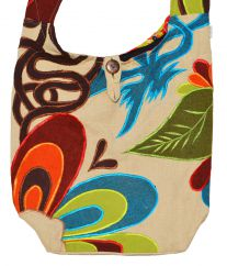 Random applique long handled beach bag